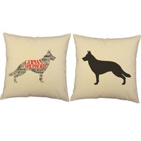 Typography German Shepherd Throw Pillows