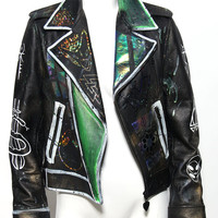 Techno-grunge futuristic hologram moto jacket glows in the dark! UV festival cyber unique