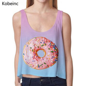 2017 Girlish Gradient Color Tank Tops Irregular Hem Vest Loose Summer Round Neck Women Tops Yummy Donuts Printing Crop Tops