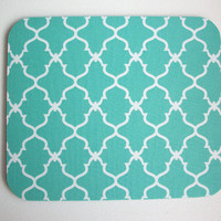 mousepad / Mouse Pad / Mat round  or rectangle - Trellis in aqua blue desk office accessory coworker gift
