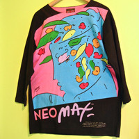 SALE Rare Peter Max Neo Max shirt. 1987 Blue Lady signature collection painting unisex long sleeved t-shirt. unique pop art print clothing.