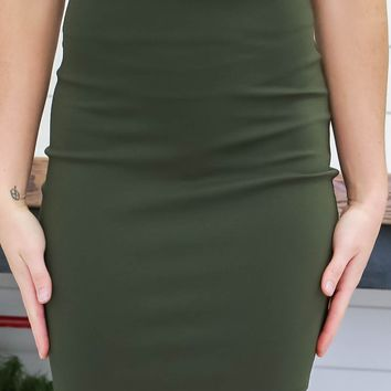 Steal A Moment Mini Skirt - Olive