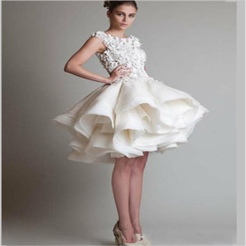 Free Shipping Jewel Sleeveless Applique Knee Length Homecoming Dresses Ball Gown Organza White Short Prom Dress Party Gown 2016