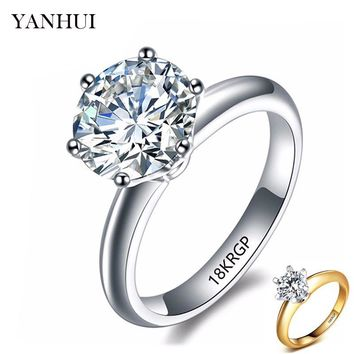YANHUI 100% Pure Original Gold Filled Ring Fashion Jewelry 2 Carat White Solitaire Cubic Zirconia Wedding Rings for Women HR1689