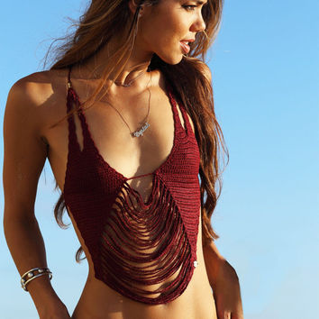 Womens Sexy Knit Top Maroon Swimsuit Bikini