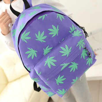 On Sale College Back To School Comfort Hot Deal Stylish Korean Canvas Bags Leaf Casual Backpack [6582450567]