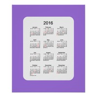 2016 Amethyst Holiday Calendar by Janz Print