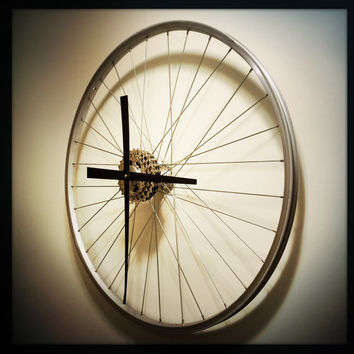 Bike Wheel Clock Bicycle Wheel Clock Bike Wall Clock Bike Wheel Wall Clock Recycle Bike Parts Recycled Clock
