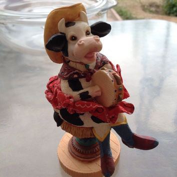 Cowgirl Cow Figurine, Home on the Range Cow, Farm Decor, Cute Cow Figurine