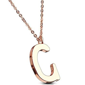 BodyJ4You Necklace Letter C Initial Alphabet Charm C Stainless Steel Rose Goldtone Chain