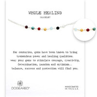 Dogeared Whole Healing Multi-Gem Bracelet - Sterling Silver & Gold Dipped 6 inch