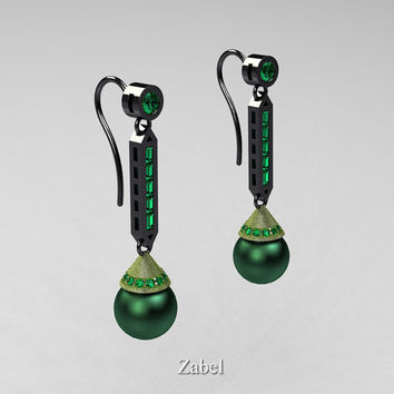 Zabel - Modern Classic 14K Two Tone Black and Green Gold Green Freshwater Pearl Emerald Drop Earrings E101-14KTTBGGEMGP