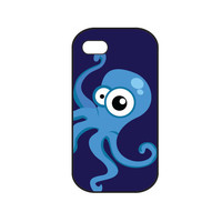 Deep blue iphone 4s cover, sea iphone 4 case, blue octopus,