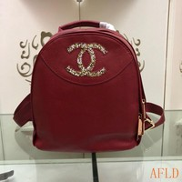 HCXX 19Aug 677 Fashion Mosaic Colored Crystal C Logo Leather Backpack 22-23-14