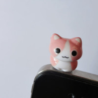 SALE 80-20%OFF: Cute Crouching Pink Cat Kitten iPhone Plug . Phone Charm . Phone Plug . Dust Plug - Hand Painted, Cat, Kawaii, Girly