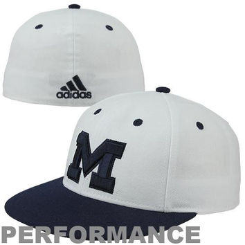 adidas Michigan Wolverines On-Field Performance Fitted Hat - White/Navy Blue