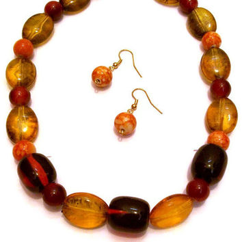 Tangerine, Red & Gold Beaded Jewelry Set