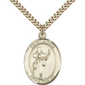 "Saint Aidan Of Lindesfarne Medal For Men - Gold Filled Necklace On 24"" Chain ..."
