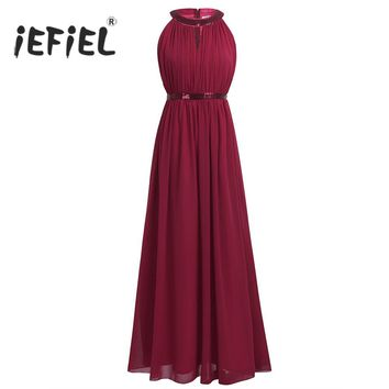 iEFiEL Women Ladies Prom Gown Hollow Out Maxi Dresses Formal Long Dress Beach Wedding Vestidos Evening Birthday Party Dress