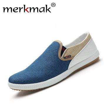 British Modern Urban Men Fashion Flat Shoes Linen Woven Patchwork Flats Breathable