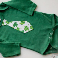 St Patrick's Day Boy Tie Onesuit White and by WhimsyBitsbyTeegan