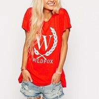 Wildfox T-Shirt With Crest Front Logo at asos.com
