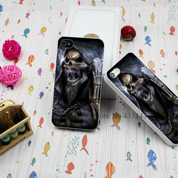 Hard White Case Cover for iPhone 4 4s Grim Reaper Gothic Death Angel (2) Style