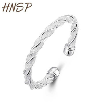 HNSP B020 Quality Silver Plated metal Bangles 2016 Ladies Classic Trendy bracelets & bangles For Women wire bangle bracelets