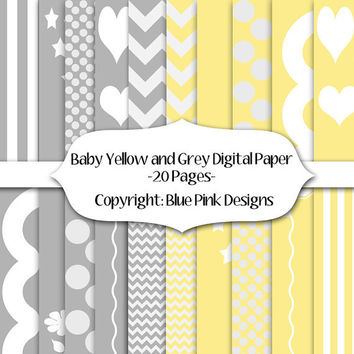 INSTANT DOWNLOAD Yellow  and Gray Digital Paper, Yellow Scrapbook Paper, Grey Scrapbook Paper, Chevron Paper, Yellow and Grey