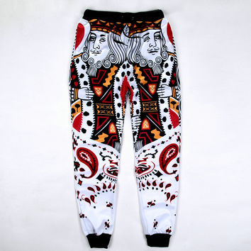 3D Men Jogger Pants Diamond K/Spade Q Poker Face Emoji Joggers