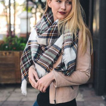 Plaid Blanket Scarf - White/Brown/Mint