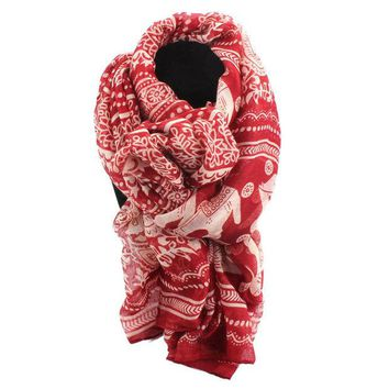 DCCKLG2 Long Good Luck Elephant  Cotton Scarf Shawl Wrap