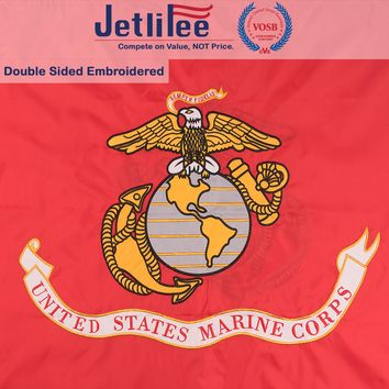Jetlifee USMC 3x5 Ft Double Sided Flag Embroidered With Brass Grommets U.S. Marine Corps Military Flag