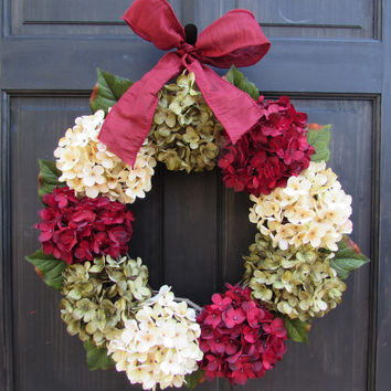 Burgundy Red, Cream & Green Hydrangea Wreath