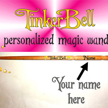 Tinkerbell Personalised Wand Magic Wand. Personalized Peter Pan Style Magic Wand. Custom Name Magic Wand. Wizard Wands. Tinker Bell Magic