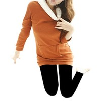 Woman Plush Rimmed Hood Long Sleeve Pure Color Tunic Sweatshirt
