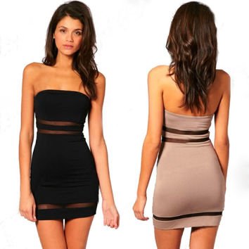 Women Sexy Slim Bandeau Strapless Sleeveless Backless Sheer Mesh Stitching Bodycon Mini Party Dress F_F = 1904781380