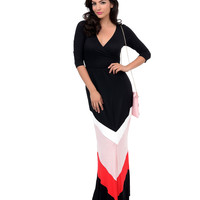 1970s Style Black, Pink & Red Chevron Color Block Jersey Knit Maxi Dress