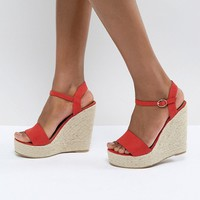 Glamorous Red Espadrille Wedge Sandals at asos.com