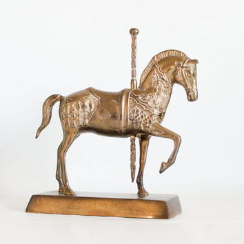 Vintage Large Brass Carousel Horse Figurine, Animal Statue, Equestrian Carnival Home Decor
