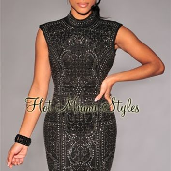 Black Chrome Stones Textured Sleeveless Mock Neck Dress
