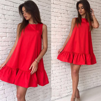 Summer Sleeveless Sexy Ruffles Women Dress Casual A Line Bodycon Dresses Short Mini Tube Beach Dress Vestidos LJ4534E