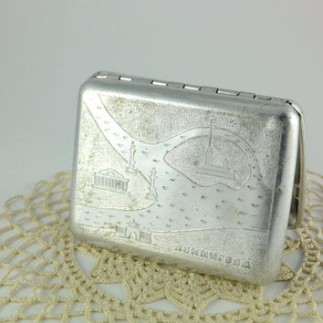 Vintage Metal Cigarette Case Soviet Russian USSR CIGARETTE Case -  Leningrad, Saint Petersburg CCCP Business Card Holder