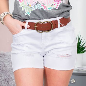 Dear John Distressed White Shorts