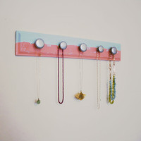 Horizon Line Modern Painted Scarf Rack. Jewelry Organizer. For the Home. Sunset.  5 hook.
