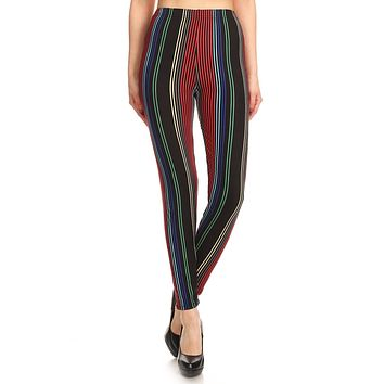 Women's Regular colorful Vertical Stripes Pattern Printed Leggings