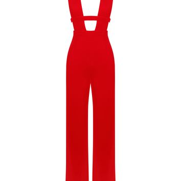 Hana Red Deep V Cut Out Stretch Crepe Jumpsuit