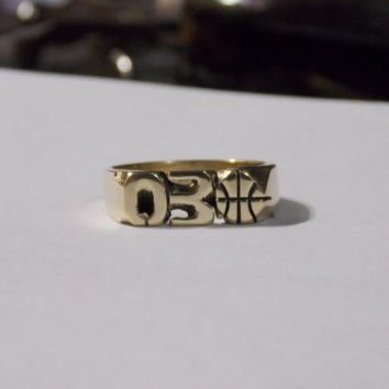 Hand Carved Yellow Brass Ring With Numbers Or Initials & Basketball Design Custom Made To Order Personalized 5.5mm