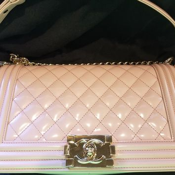 Chanel New NWT Patent Iridesct Light Pink Medium Boy Bag 100% Authentic