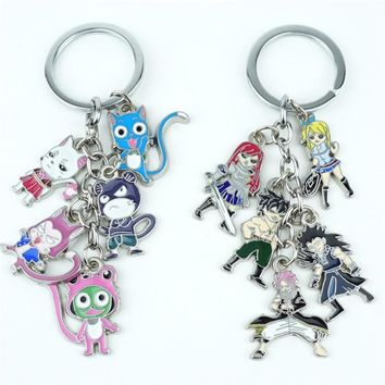 Japan Anime FAIRY TAIL Keychain Keyring 5 in 1 set Alloy Metal Pendants Cartoon Key Ring Cosplay Accessories Collection Gift New